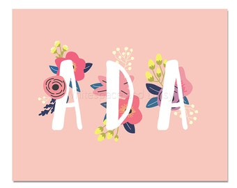 Ada Baby Name Wall Art Ada Baby Name Sign Ada Party Printable Ada Party Decorations Ada Adult Party Decorations Ada Art