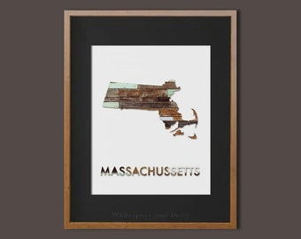 Massachusetts State Art Printable Massachusetts State Art Print Massachusetts Map Massachusetts Wall Art State Map Printable Home Wall Art