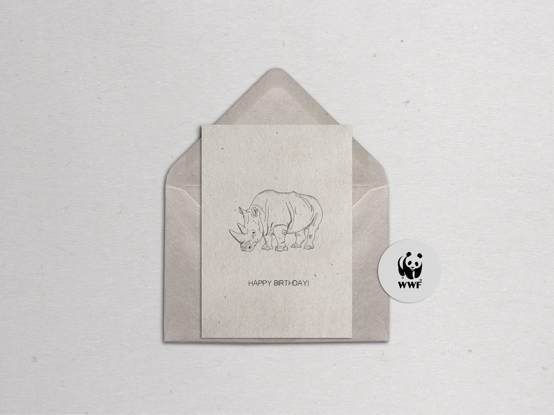 WWF Charity Rhino Greetings Card Customisable | Etsy