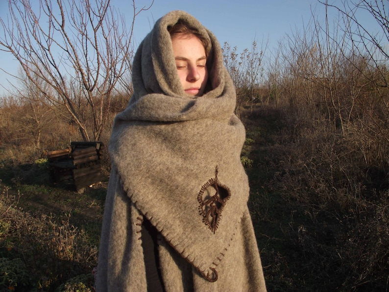 Elven medieval cloak from cashmere in beige,poncho,mantle,coat