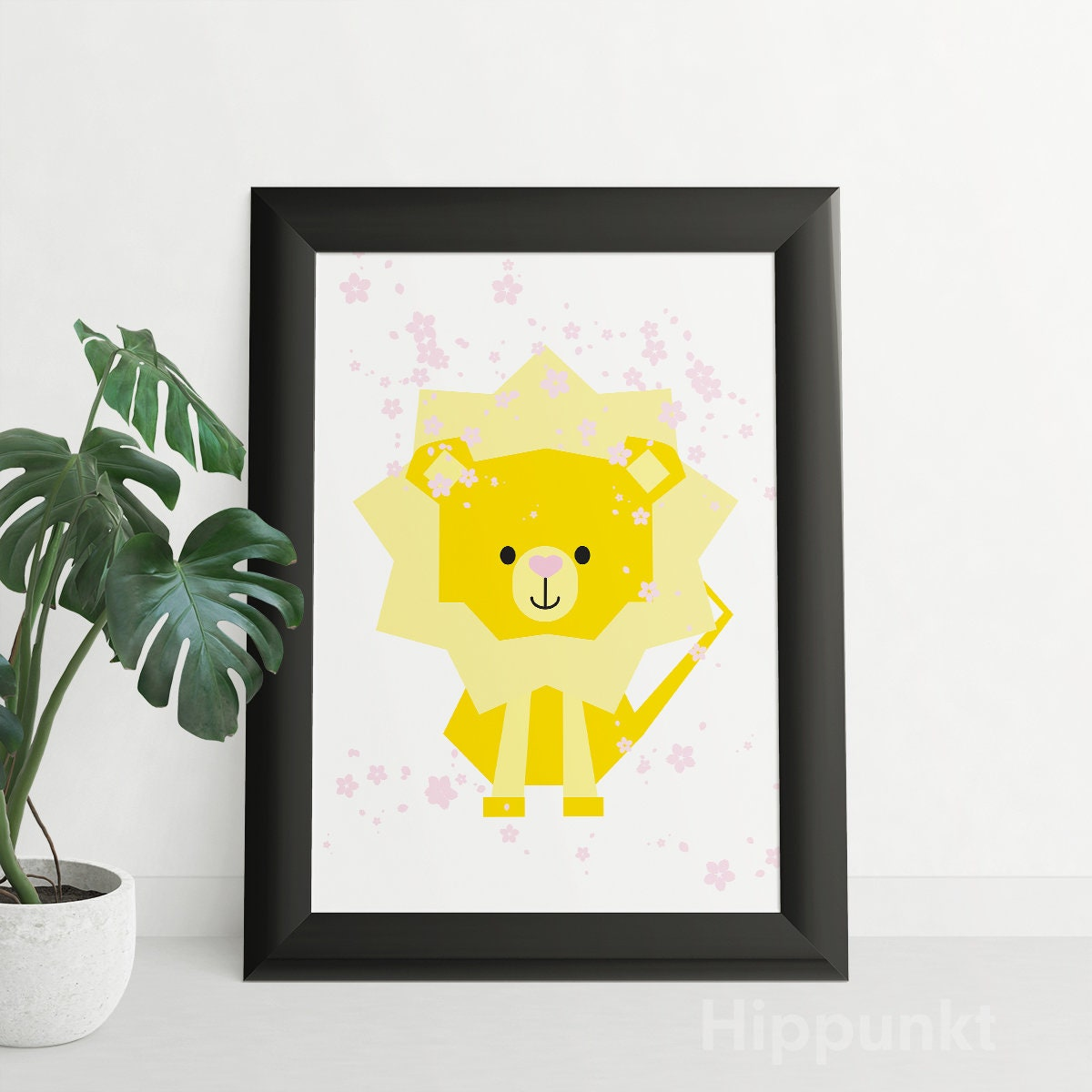 Baby Lion Cub Cherry Blossoms Instant Download Art Print | Etsy