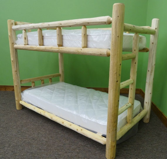 Handcrafted White Cedar Rustic Log Bunk Bed Etsy