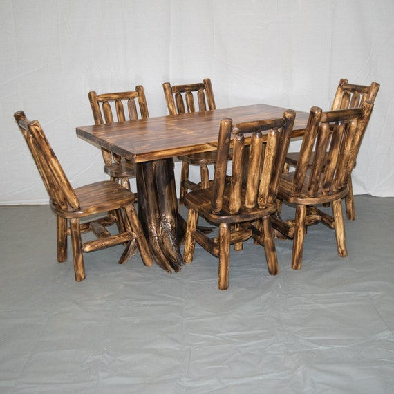 Log Stump Kitchen/Dining Table 40x60 (Table + 6 Chairs)