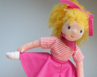 Soft fabric Doll, Sissi Dream Dancer  doll 13 in, Waldorf inspired, pink doll, doll with movable legs, ponytail blond doll,