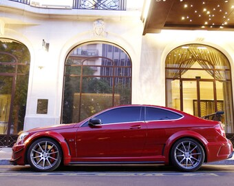 Poster of Mercedes C63 AMG Black Series Left Side Red Super Coupe HD Print