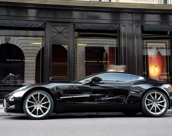 Poster of Aston Martin Black One-77 Left Side HD Print
