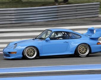 Poster of Porsche 911 993 GT 993GT Left Side Blue HD Print