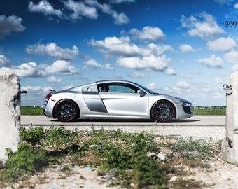 Poster of Audi R8 Right Side  Silver on 360 Forged wheels HD print