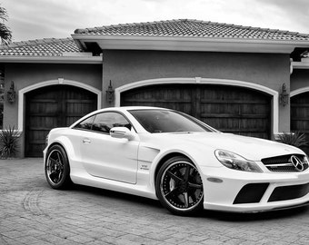 Mercedes SL65 AMG Black Series Right Front on 360 Forged wheels B&W Poster print