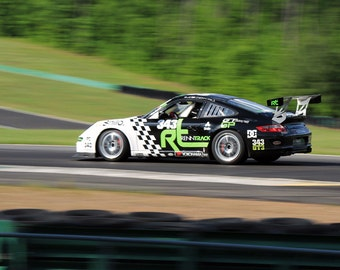 Porsche 911 GT3 on track Left Rear Motion Multi Color HD Poster Sports Car Print