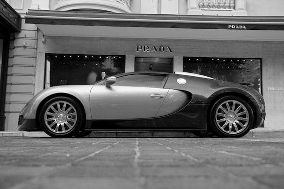plakat des bugatti veyron 2 ton linken seite schwarzwei. Black Bedroom Furniture Sets. Home Design Ideas