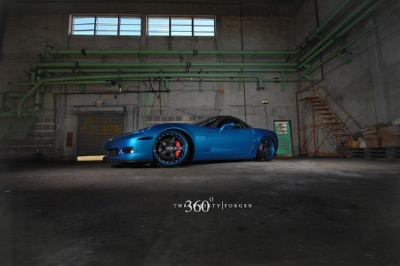 Poster of Chevy C6 Corvette Z06 Spec 5 Left Front Blue on 360 Forged wheels  HD print