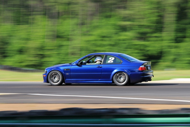 Bmw E46 M3 On Track Left Side Motion Blue Hd Poster Sport Coupe Print
