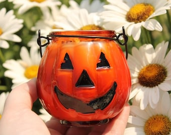 Jack O' Lantern Crystal Candle Crystal Candles Halloween Candle Samhain Candle All Hallow's Eve Candle Pumpkin Candle Pumpkin Crystal Candle