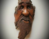 Wood spirit carving by Murray Watson tree spirit hand carved Wooden face wood sculpture driftwood art carving cottonwood bark whimsy.