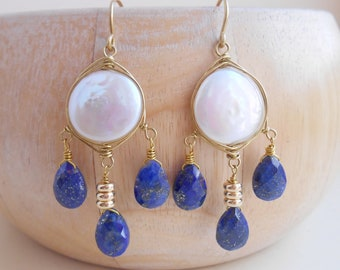 7b77c3a26342 Laura lapis lazuli coin pearl chandelier earrings navy dark blue white gold  fill wire wrap June December birthstone mothers day gift for her