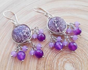 Earrings silvered Schwalbe Jaspis Jade glass pearl