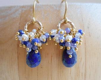 db6725425bc9 Belen blue white lapis lazuli gemstone cluster earrings wire wrap dangle  drop freshwater pearl quartz gold vermeil December June birthstone
