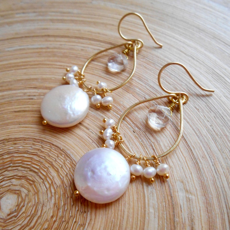 Veronique bridal white coin pearl gemstone chandelier hoop earring freshwater pearl clear quartz gold fill wire wrap cluster June birthstone
