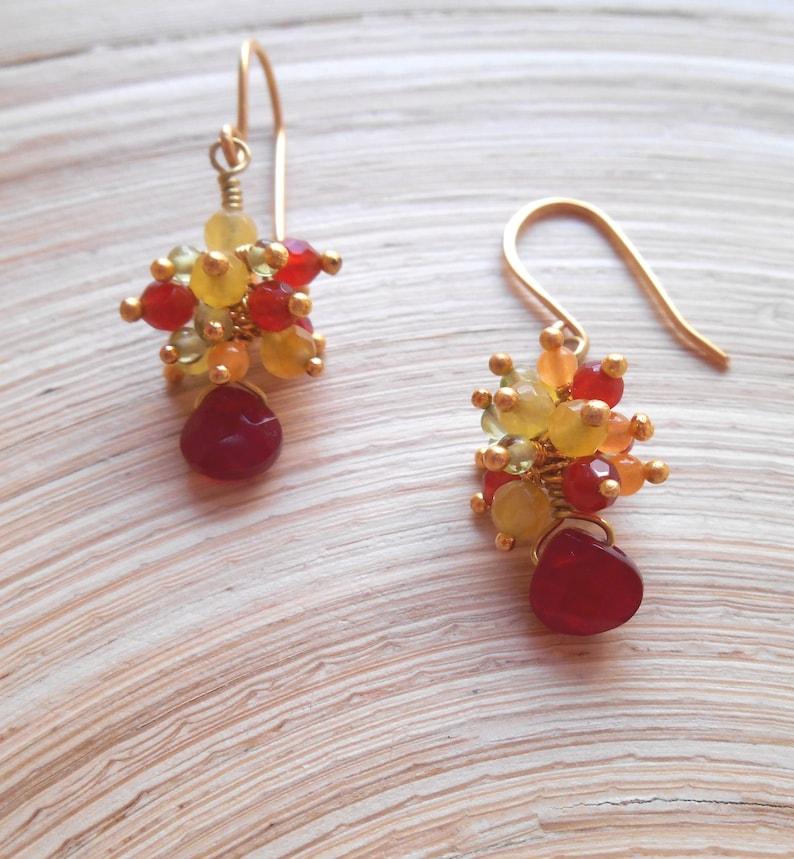 Denise petite dainty red yellow green gemstone cluster dangle drop earring quartz carnelian peridot jade jasper gold fill Xmas gift under 50