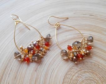 Brunelle gemstone cluster beaded hoop earrings brown amber orange dangle freshwater pearl smoky quartz carnelian citrine November birthstone