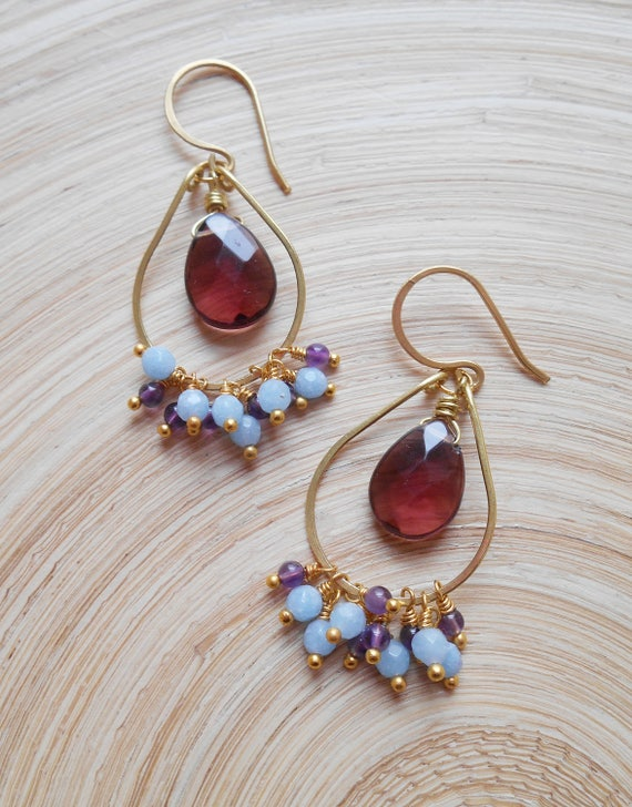 Lulu Gemstone Cluster Beaded Hoop Earrings Purple Light Baby Etsy