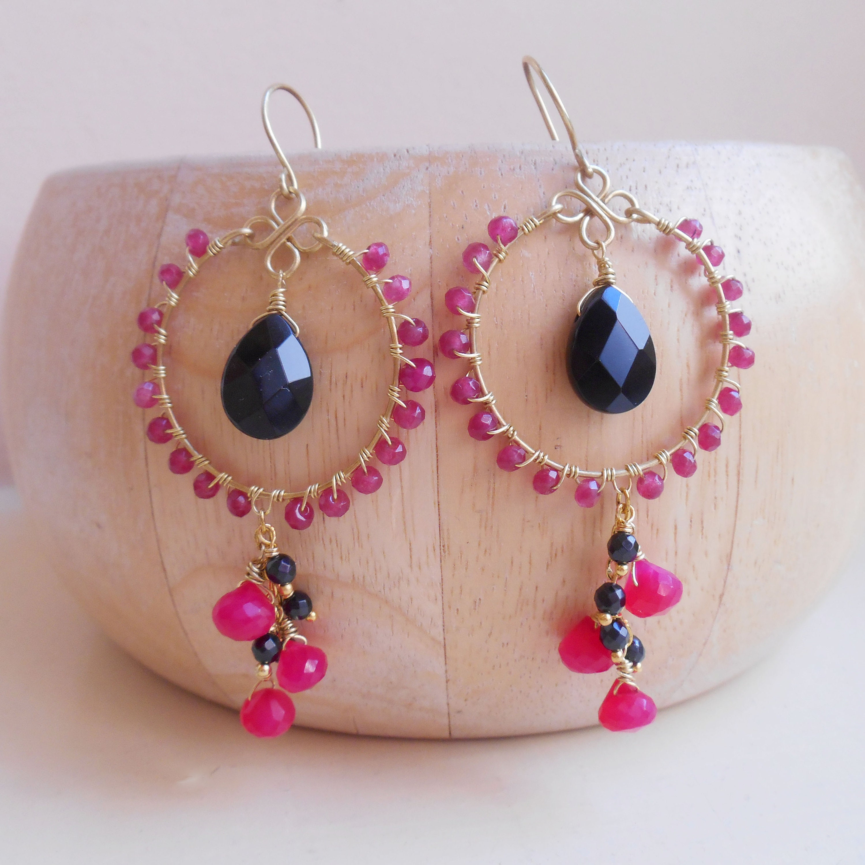 14k Gold Filled /& Pink Tourmaline Gemstone Beaded Hoop Earrings