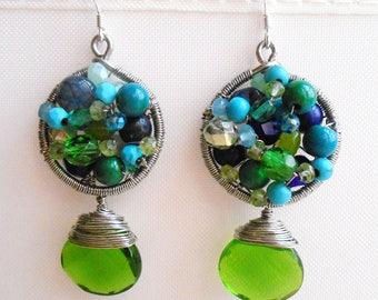 Natalie in green earring emerald quartz lapis lazuli peridot gemstone chandelier earring mosaic green earring gift for her August birthstone