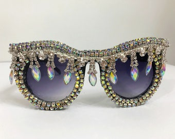 48a69c8f898 Festival Resort Embellished Oversized Sunglasses Eyewear