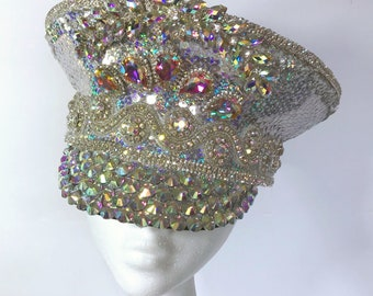 c66b7c82fe661 Festival Irridescent Silver sequin and AB Rhinestone Diamante Embellished  Military Doof Peaked Hat  Cap. Burning Man Costume Marching Ba
