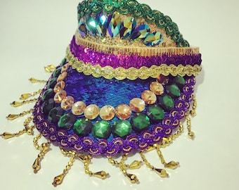 Festival Embellished Sequins Visor Hat, rhinestones and beads. Gold purple green colours. Burning Man Costume Mardi Gras Carnival Party a