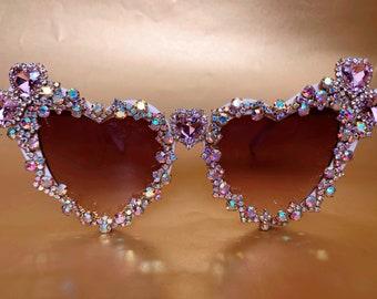 Festival Party Heart Shaped Sunglasses. Embellished Bling Sunnies Eyewear. Pale Pink & AB Rhinestone, Gold Diamante. Burning Man Ibiza Retro