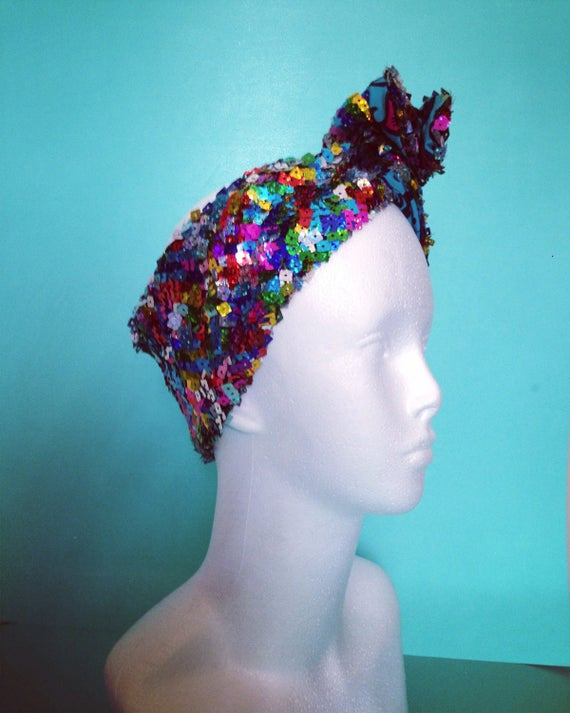 Festival Multicoloured Sequin African Print Wire Headwrap/ | Etsy
