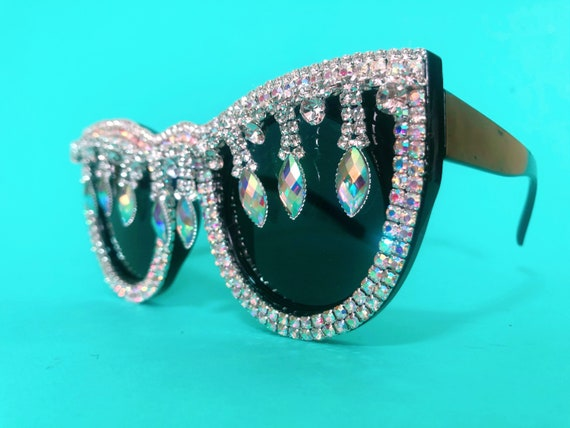 Sunglasses Teal with Rhinestone Embellishment