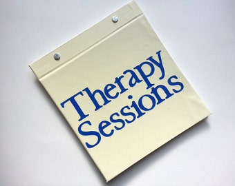 Race Bib Holder - Therapy Sessions - Gift for Runner - Run Therapy - Race Bib Book Hand-bound for Runners Off white and Navy