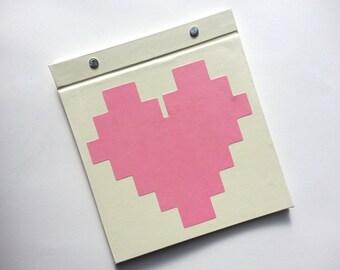 Race Bib Holder - Pixelated Heart - Gift for Runner Geekery - Race Bib Book Hand-bound for Runners Off White Light Pink