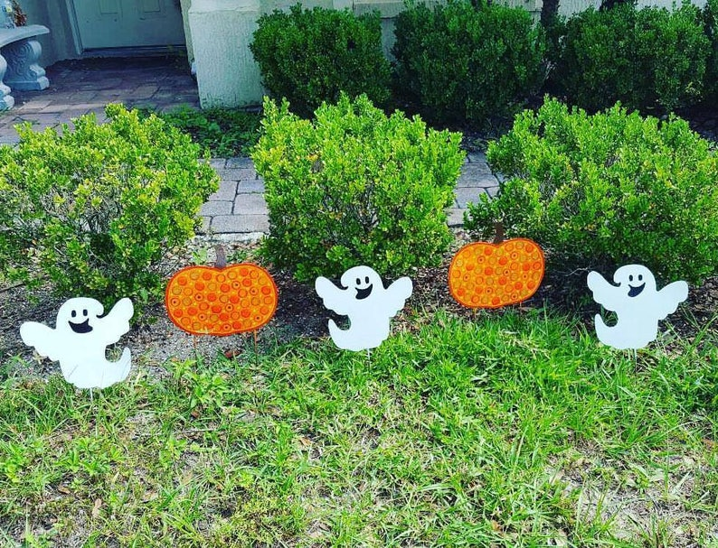Halloween Yard.Halloween Yard Art Glow In The Dark Ghost Cute Halloween Decor Halloween Party Decor Outdoor Halloween Yard Decor Pumpkin Ghost Fun