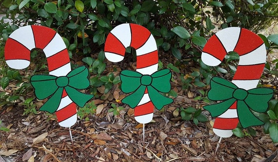 Candy Cane Yard Art Outdoor Christmas Candy Cane Holiday Etsy Unique Candy Cane Yard Decorations