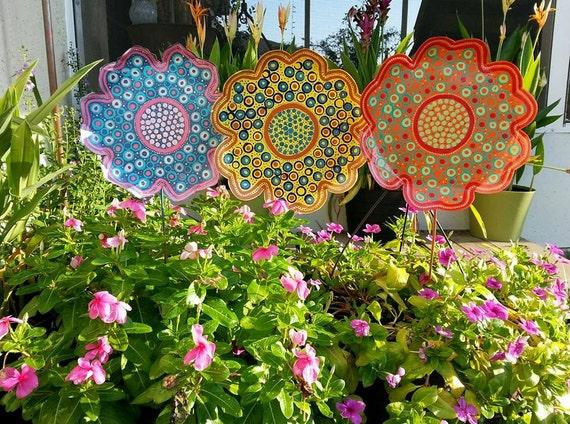 Gentil Metal Flower Garden Stake Large Garden Decor Gift For Her | Etsy