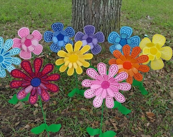 Superieur Set Of 10 Flower Garden Stake, Garden Art, Metal Flower Stake, Garden  Decorations, Garden Decor, Front Yard Decor, Flower Decorations, Mom