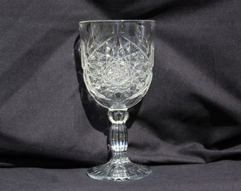 Water Goblet Hobstar by Libbey Glass Heavy Durable 12 oz