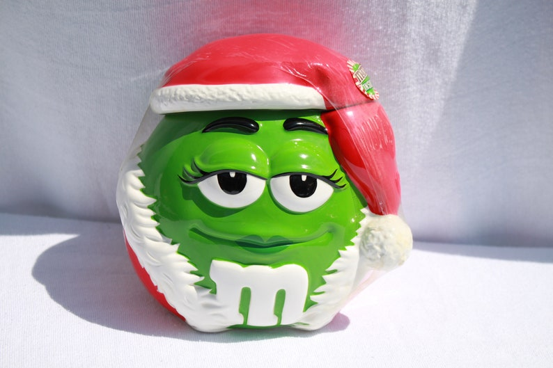 d61910652d01d M and M Collectible Green Ceramic Christmas Santa Hat Candy or