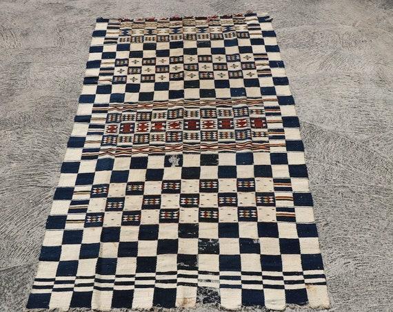 Rare Vintage Hand Woven African Blanket, Fulani People Half Fragment Arkilla Jenngo / 51,2''x 85,8''