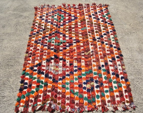 Splendid vintage Handmade Turkish Camel Wedding Cover Blanket with Colorful Wool Poms / 60,63''x 90,16''