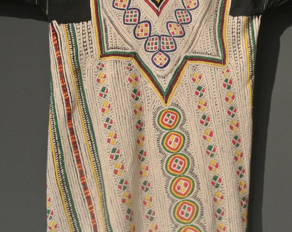 Vintage Yemeni Wedding Dress Ecru and Various Colors Hand Embroidered / 43,3''x 45,27''