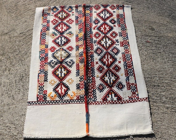 Little Vintage Turkish Hand Woven Mat in Vibrant Red, Blue, Orange, Yellow Diamond Designs / 25,98''x 39,4''