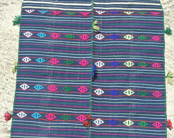Delightful Anatolian handwoven vintage cotton apron embellished with wool embroideries / 20''x 33,4