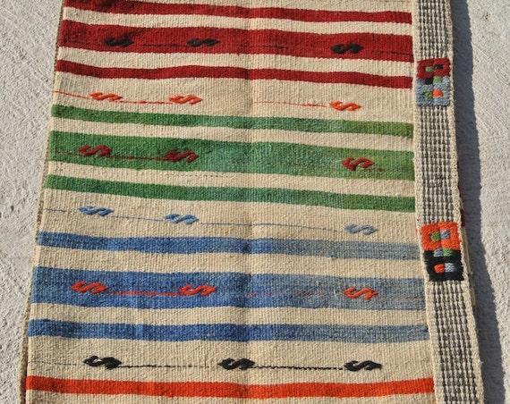Original Oriental Storage Sack, Large Ala çuval, Multicolor striped Nomadic Turkish Bag / 25,5 x 59,4 inches