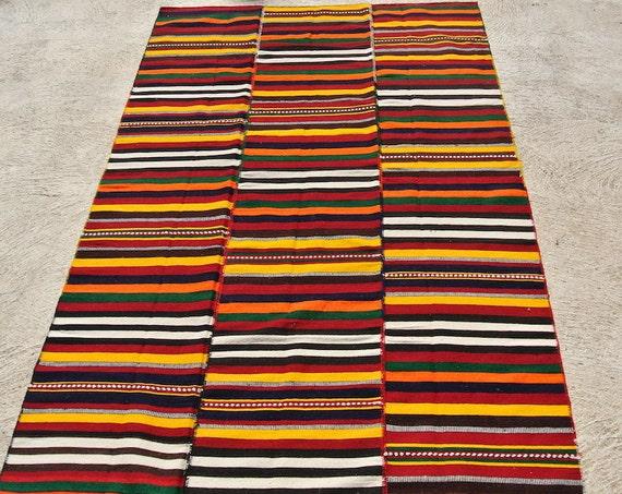 Original Hand Woven Jijim Rug Cover, Ethnic Vintage Kelim Rug, Tribal Handwoven Rug Blanket / 61,4'' x 96,8''