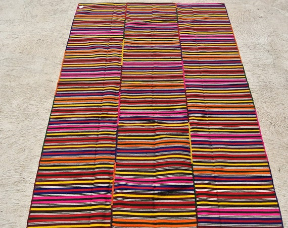 Antique Hand Woven Jijim Cover, Ethnic Vintage Kelim Rug, Tribal Handwoven Rug Blanket / 55,1'' x 82,3''